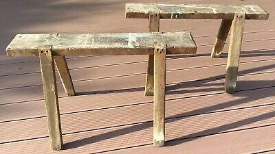 Two Vintage Wooden Trestles Stands Saw Horses Work Benches