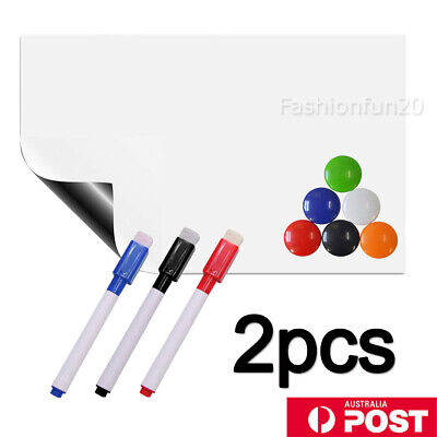 2X A4 Marker Message Board Magnetic Fridge Soft Whiteboard Home Office Memo AU