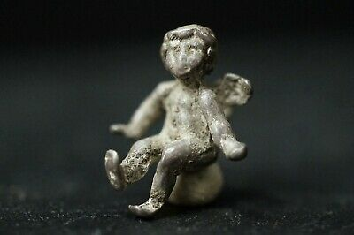 Ancient Roman Silver Amulet. Small Pendant of Winged God Cupid, circa 250-350 Ad