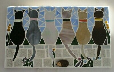 "Stained Glass Mosaic "" Observation Point,"" handmade mosaic cats."