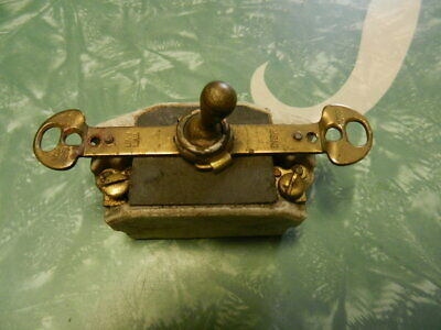 Antique toggle light switch Brass/ceramic Arrow 10A 125V 5A 250V
