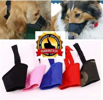 SOFT Nylon Adjustable ANTI Bite Bark DOG SAFETY MUZZLE Breathable Mesh MUZZEL UK
