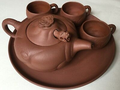 Signed Yixing Zisha Red Clay Chinese Dragon Teapot, tray, three cups (5)