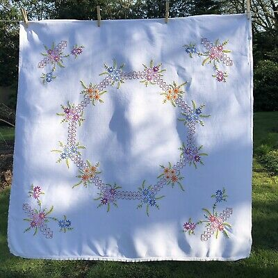 "Vintage Hand Embroidered Linen Floral Tablecloth~40""x40"""