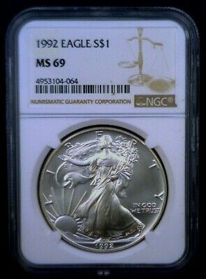 1992 American Silver Eagle NGC MS 69 Brown Label 1 oz .999 Fine 008