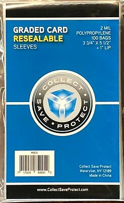 300 New! CSP Resealable Graded Card Slab Poly Sleeves bags 3 3/4 X 5 1/2 BECKETT