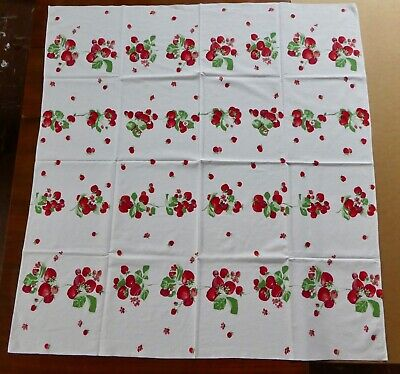Vintage TABLECLOTH Featuring RIPE RED STRAWBERRIES Against Bright White 1940s