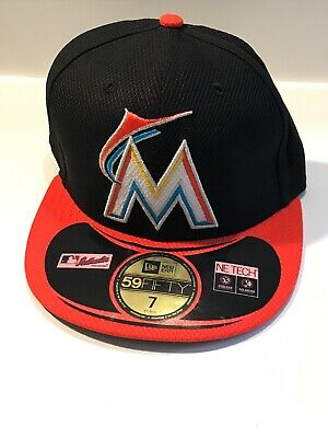 premium selection 9a117 4b376 NEW ERA Miami Marlins Black Orange MLB 59FIFTY Baseball Fitted Hat Cap Size  7
