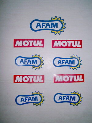 Lot de 8 autocollants stickers AFAM et MOTUL