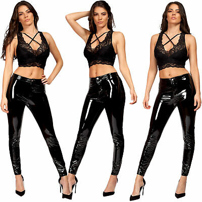 Ladies Womens Shiny PVC High Waist Wet Look Skinny Disco Vinyl Leggings Trousers