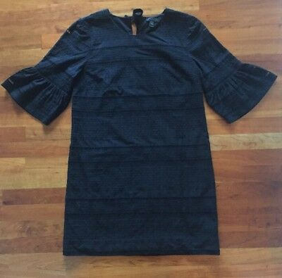 cebbf6ade2a J CREW FLUTTER Sleeve Eyelet Shift Dress Black Size 4 NWT -  29.00 ...