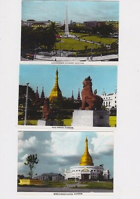 Vintage Rangoon Photo / Post Card Lot Of 3 Sule Pagoda World Peace Monument