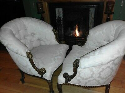 Victorian Style~Occasional/Tub Armchair~Upholstered Button Back Carved Chair X2