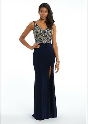 dc83f2ae43b2 NWT Camille La Vie Navy Beaded Gown Size 8 wedding and formal gown retail  $209