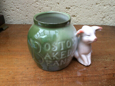 Rare Antique PIG FAIRING - pig by a Boston Baked beans pot German spill vase