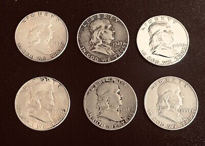 lot of 6 Franklin half dollars 90% silver coin lot, various dates Lot #1