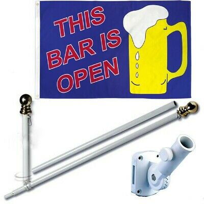 This Bar Is Open Mug 3 x 5 FT Flag + 6 Ft Spinning Tangle Free Pole + Bracket