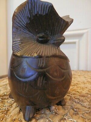 Antique Hand Carved French Wooden Owl Netsuke