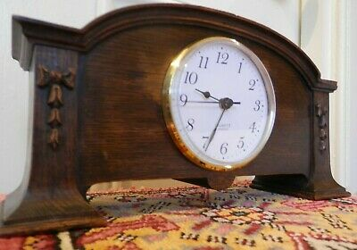 Antique Carved Wooden case with Working Quartz movement Mantle Clock