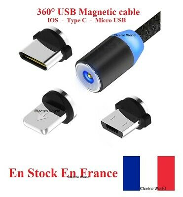 Cable USB chargeur 360° magnétique charger magnetic micro USB IOS Type C