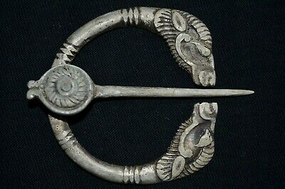 Ancient Celtic Silver Amulet. Stunning Kelt Brooch with 2 Beast Heads, 100-50Bc