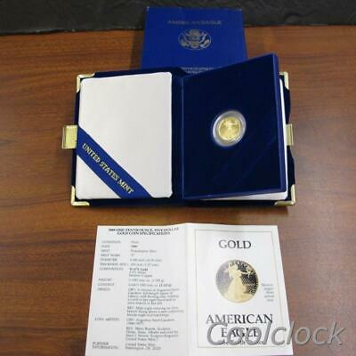 1989 American Eagle One-Tenth Ounce Gold Proof Coin in Display Box & COA #Y740