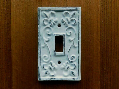 Iron Single Toggle Light Switch Wall Plate Cover, Shabby Vintage White Victorian