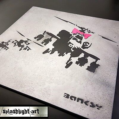Textured Plaster Banksy 50cm Happy Choppers Black & Pink Spray Paint Hand Made