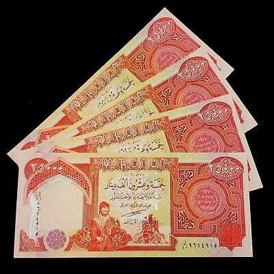 Sale !! 100,000 Iraqi Dinar (4) 25,000 Notes Uncirculated Authentic!! Iqd!
