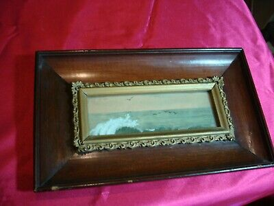 Antique Unusual Frame With Water Color Ocean Gulls Sky