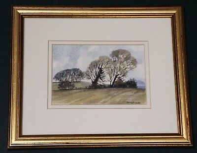 Beautiful original signed watercolour by James Trew 'A windy day on The Downs'