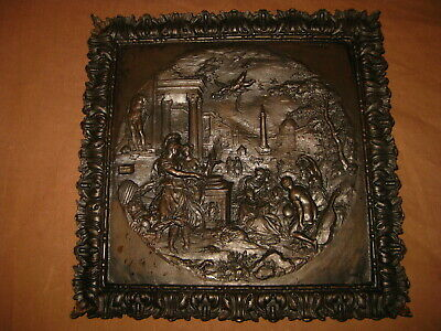 ANTIQUE GREEK MYTHOLOGY TRIUMPH VIRTUE BRONZE TRAY WALL FRAME PLAQUE PLATE 19th