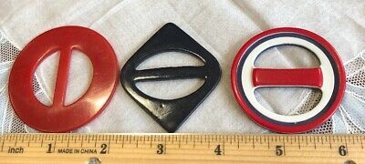 Vintage 3 Red White Blue Belt Buckles Scarf Slide BU-25