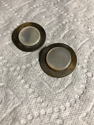 """Vintage 2 Metal 1-1/4"""" Mother Of Pearl Shell Sewing Buttons Lot 113-3"""