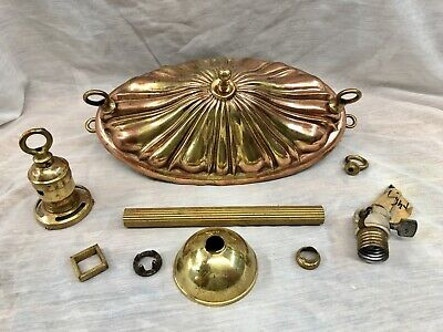 Antique Brass Pan Light Ceiling Lamp & Parts For Restoration Canopy Extension