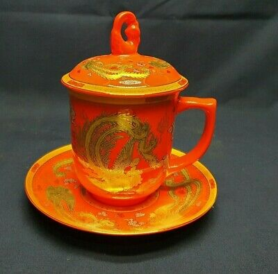 Tasses de yuquan  oriental cup, lid & saucer red/ gold ,bone china, collectable