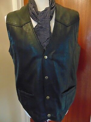 Jts  Leather Plain Waistcoat Biker Cruiser Motorcycle  Size 3 Xl ,,44Inch Chest