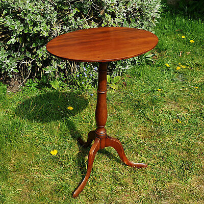 Victorian Mahogany Oval Top Tripod Wine Table Late C19th (Antique)