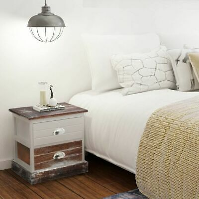 Shabby Chic Bedside Cabinets 2 pcs Brown and White L5Q1