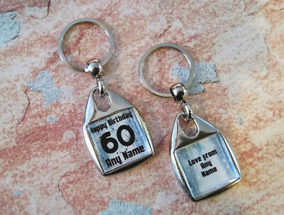 Personalised Metal Keyring - Birthday Gift  - Silver - Any Age - Double Sided