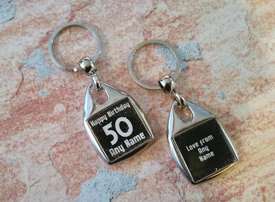 Personalised Metal Keyring - Birthday Gift  - Black - Any Age - Double Sided