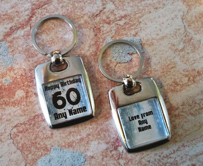 Personalised Metal Keyring - Birthday - Any Age - Double Sided - Silver