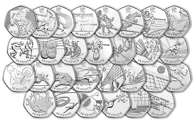 Olympic 50p Fifty Pence Coins Athletics, Sailing, Wrestling, Basketball