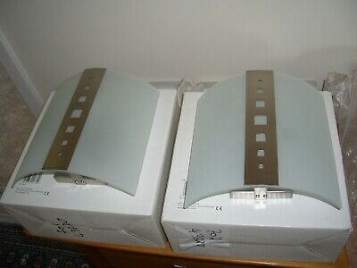 426bf04260c0 pair matching bow fronted glass and metal wall washer lights; john lewis.  boxed