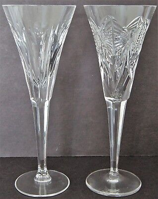 Lot Of 2 WATERFORD Crystal Millennium Collection Toasting Flutes HAPPINESS &LOVE