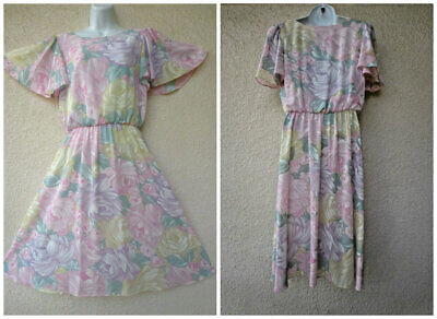 VTG 70s FLORAL DRESS Draped FULL Skirt Boho Sheer Flutter Slv Garden Party Disco