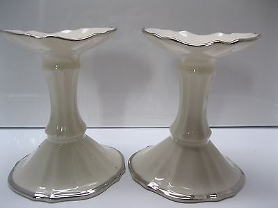 """Vintage Set of 2 Lenox Candle Holders 4.5"""" Gold Trim/Scalloped Off White U.S.A."""