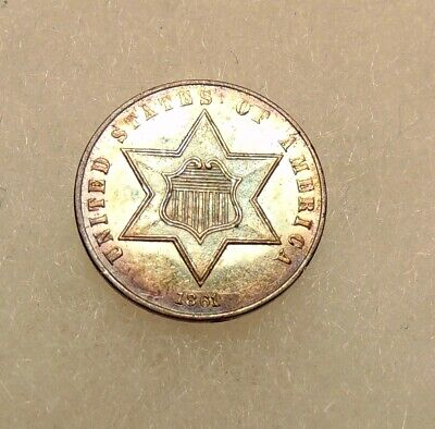 1861 (Ty-3) Three Cent Silver - Very Pretty Choice P/L AU+ Coin - FREE SHIPPING