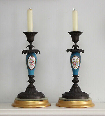 A Fine Pair of Antique c19th Porcelain & Bronze Candlesticks