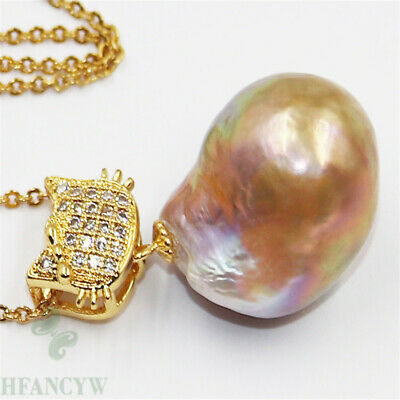 14-15mm Nature South Sea Pink Pearl Pendant Jewelry Fashion Noble Chic Gorgeous